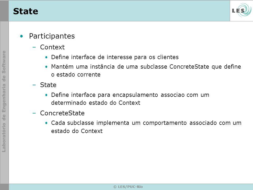 © LES/PUC-Rio State Participantes –Context Define interface de interesse para os clientes Mantém uma instância de uma subclasse ConcreteState que defi