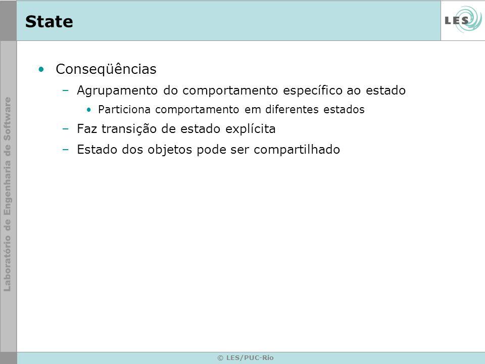© LES/PUC-Rio State Conseqüências –Agrupamento do comportamento específico ao estado Particiona comportamento em diferentes estados –Faz transição de
