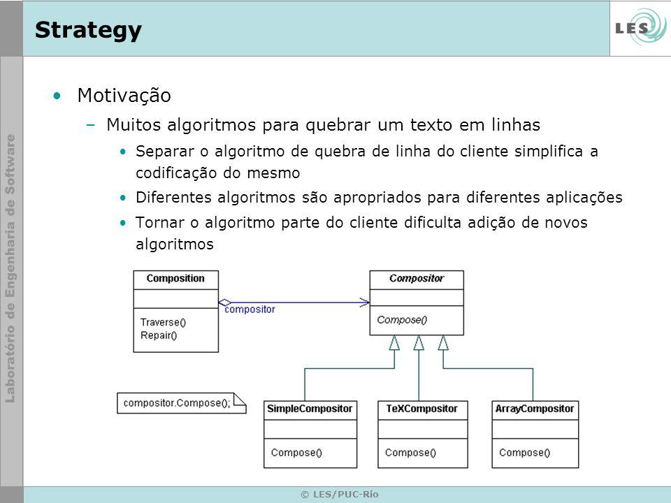 © LES/PUC-Rio Strategy Motivação –Muitos algoritmos para quebrar um texto em linhas Separar o algoritmo de quebra de linha do cliente simplifica a cod