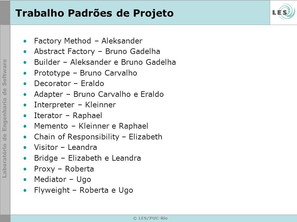 © LES/PUC-Rio Trabalho Padrões de Projeto Factory Method – Aleksander Abstract Factory – Bruno Gadelha Builder – Aleksander e Bruno Gadelha Prototype
