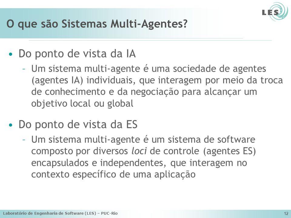 Laboratório de Engenharia de Software (LES) – PUC-Rio 12 O que são Sistemas Multi-Agentes? Do ponto de vista da IA –Um sistema multi-agente é uma soci