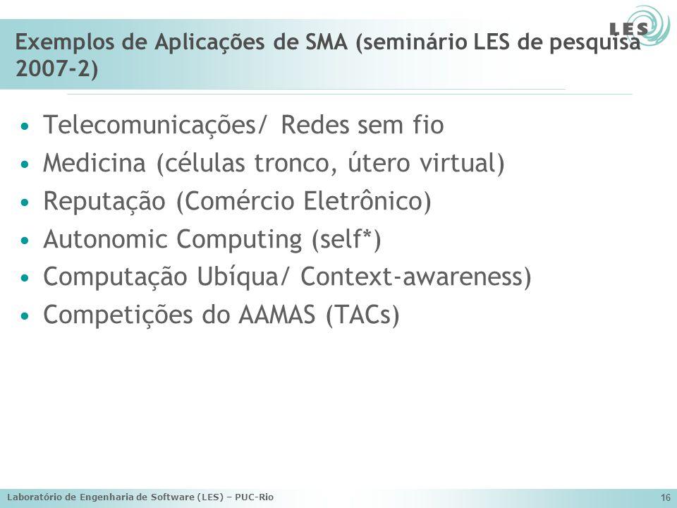 Laboratório de Engenharia de Software (LES) – PUC-Rio 16 Exemplos de Aplicações de SMA (seminário LES de pesquisa 2007-2) Telecomunicações/ Redes sem