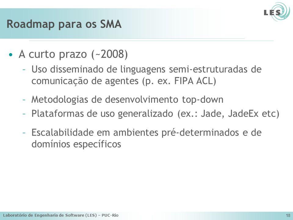 Laboratório de Engenharia de Software (LES) – PUC-Rio 18 Roadmap para os SMA A curto prazo (~2008) –Uso disseminado de linguagens semi-estruturadas de