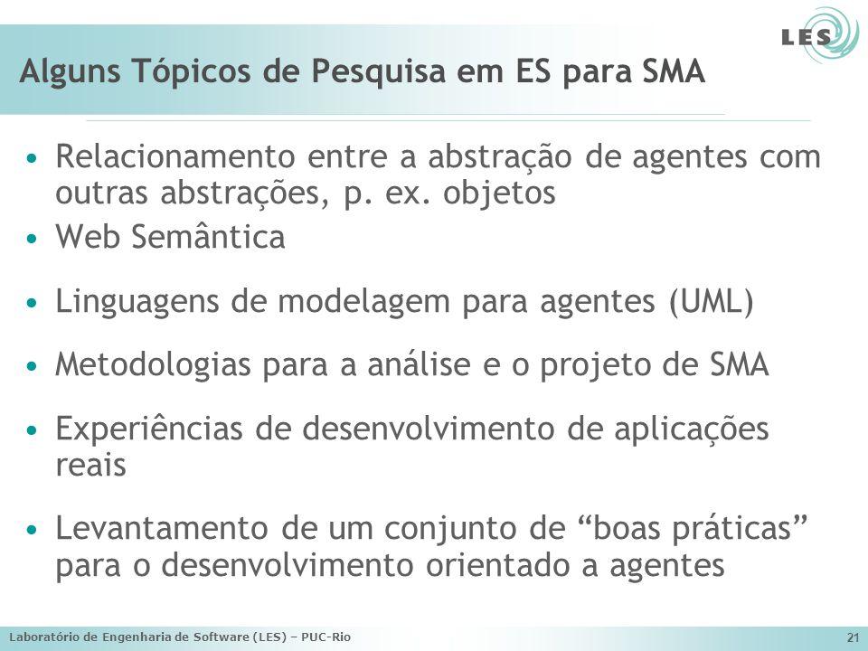 Laboratório de Engenharia de Software (LES) – PUC-Rio 21 Alguns Tópicos de Pesquisa em ES para SMA Relacionamento entre a abstração de agentes com out