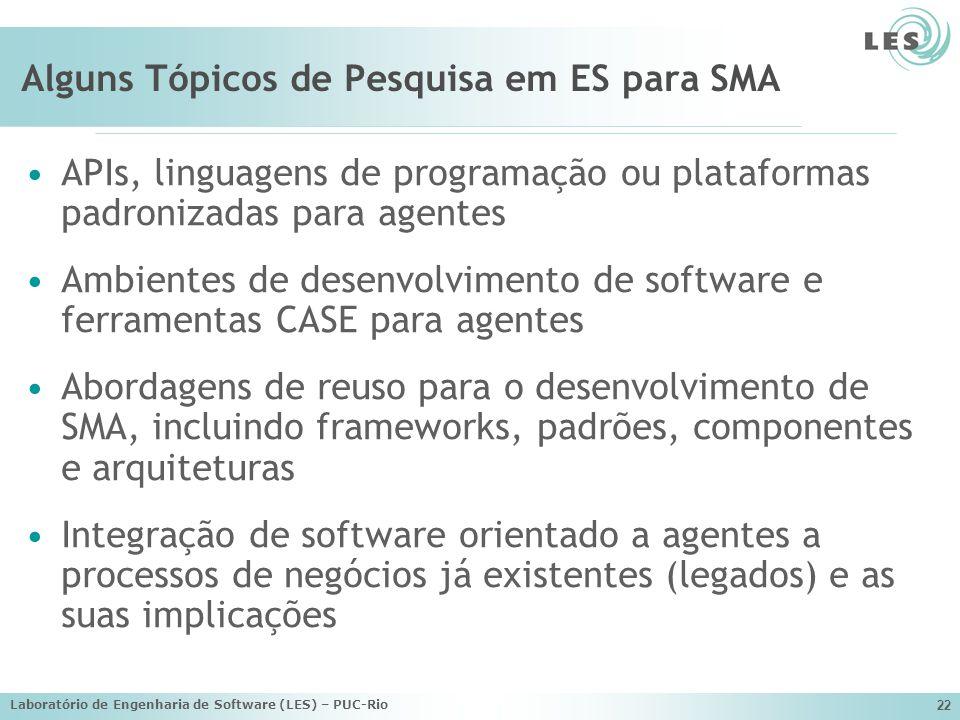 Laboratório de Engenharia de Software (LES) – PUC-Rio 22 Alguns Tópicos de Pesquisa em ES para SMA APIs, linguagens de programação ou plataformas padr