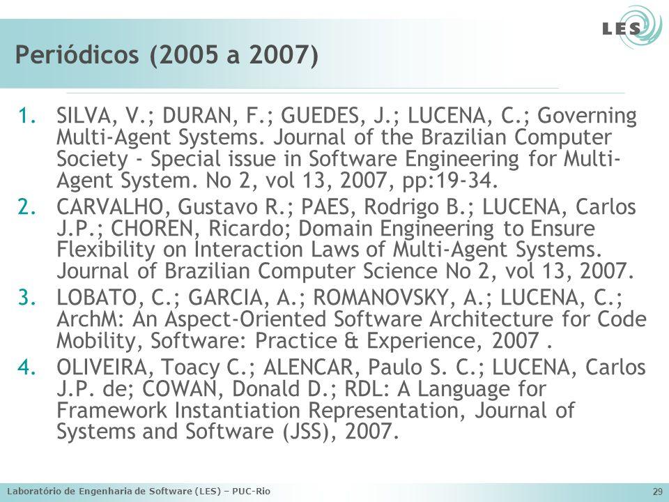Laboratório de Engenharia de Software (LES) – PUC-Rio 29 Periódicos (2005 a 2007) 1.SILVA, V.; DURAN, F.; GUEDES, J.; LUCENA, C.; Governing Multi-Agen