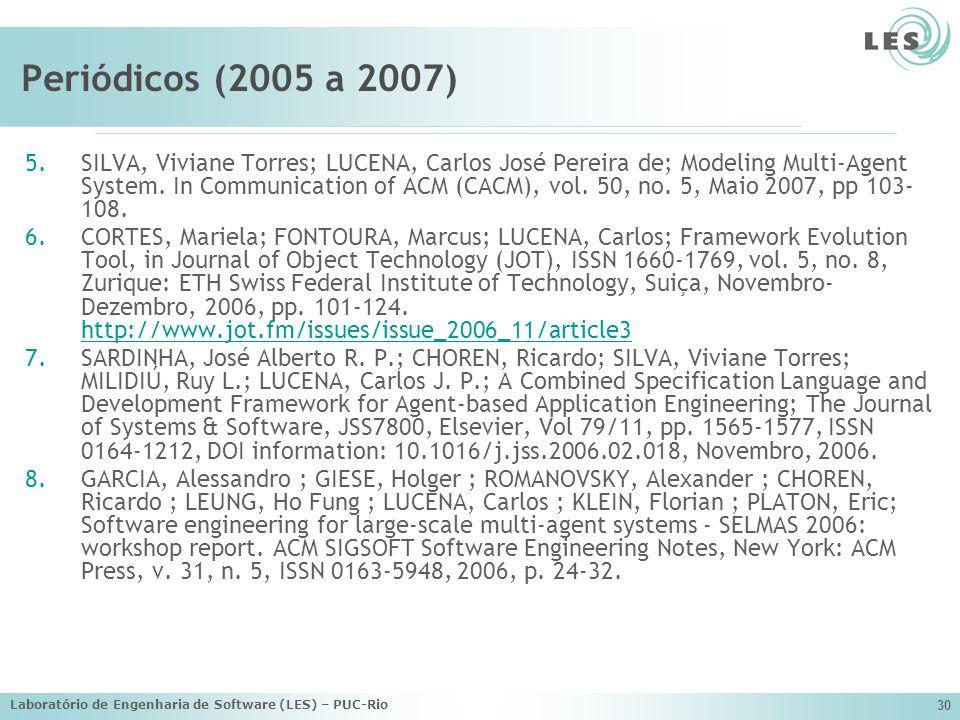 Laboratório de Engenharia de Software (LES) – PUC-Rio 30 Periódicos (2005 a 2007) 5.SILVA, Viviane Torres; LUCENA, Carlos José Pereira de; Modeling Mu