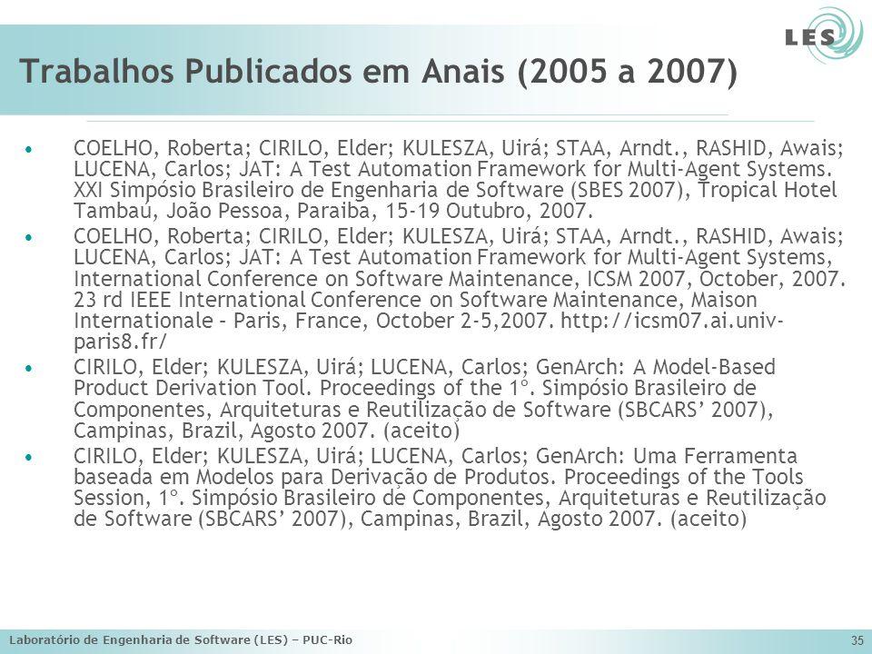Laboratório de Engenharia de Software (LES) – PUC-Rio 35 Trabalhos Publicados em Anais (2005 a 2007) COELHO, Roberta; CIRILO, Elder; KULESZA, Uirá; ST