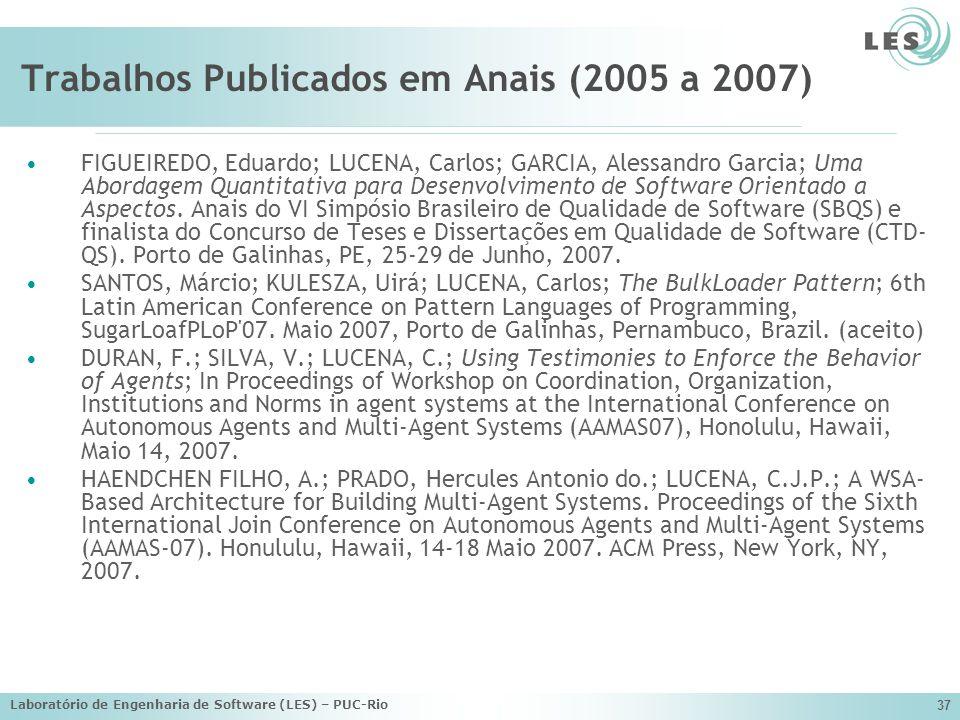 Laboratório de Engenharia de Software (LES) – PUC-Rio 37 Trabalhos Publicados em Anais (2005 a 2007) FIGUEIREDO, Eduardo; LUCENA, Carlos; GARCIA, Ales