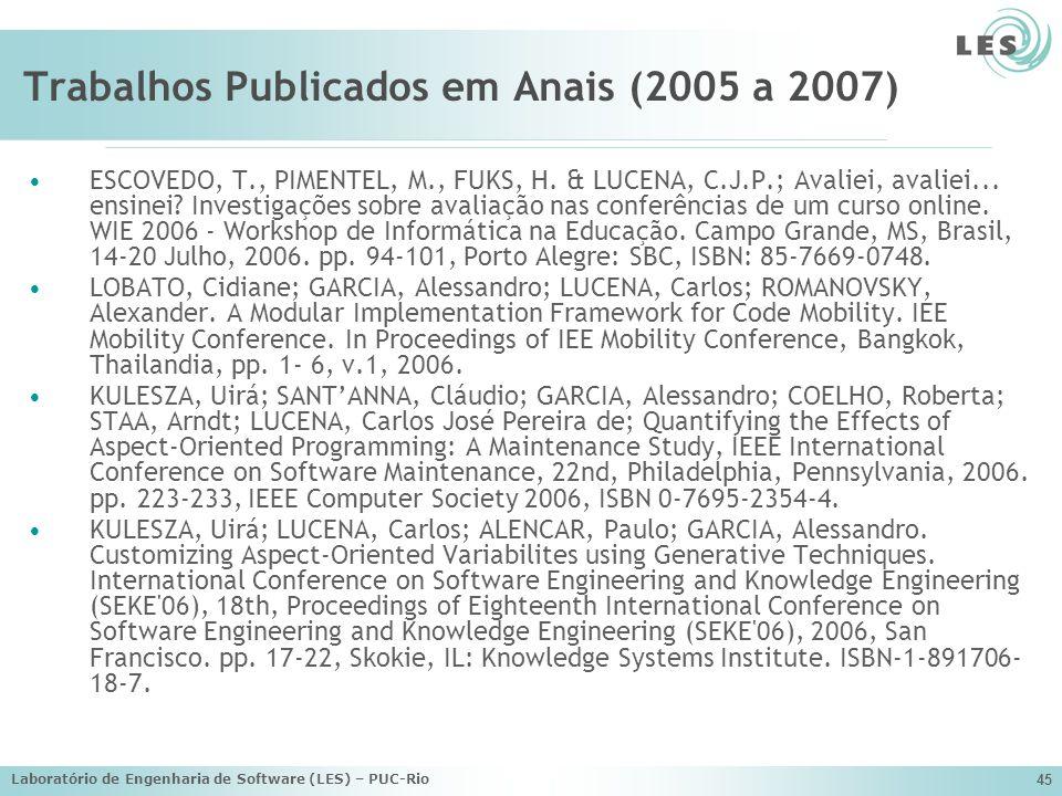 Laboratório de Engenharia de Software (LES) – PUC-Rio 45 Trabalhos Publicados em Anais (2005 a 2007) ESCOVEDO, T., PIMENTEL, M., FUKS, H. & LUCENA, C.