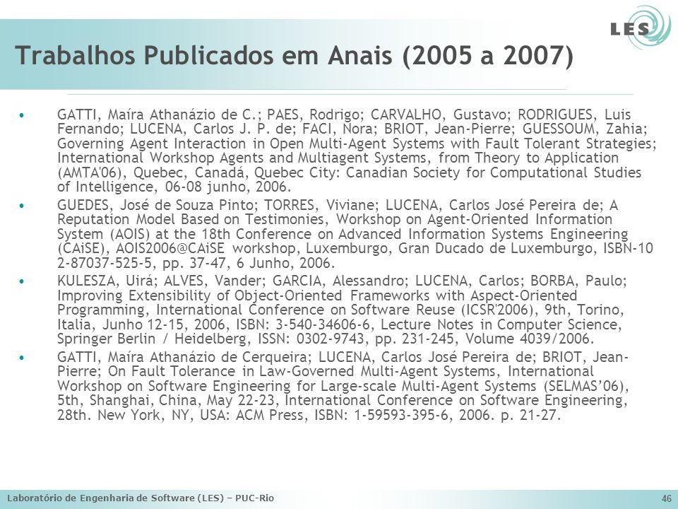 Laboratório de Engenharia de Software (LES) – PUC-Rio 46 Trabalhos Publicados em Anais (2005 a 2007) GATTI, Maíra Athanázio de C.; PAES, Rodrigo; CARV