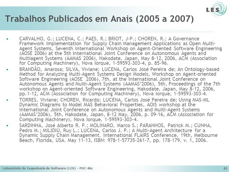 Laboratório de Engenharia de Software (LES) – PUC-Rio 49 Trabalhos Publicados em Anais (2005 a 2007) CARVALHO, G.; LUCENA, C.; PAES, R.; BRIOT, J-P.;