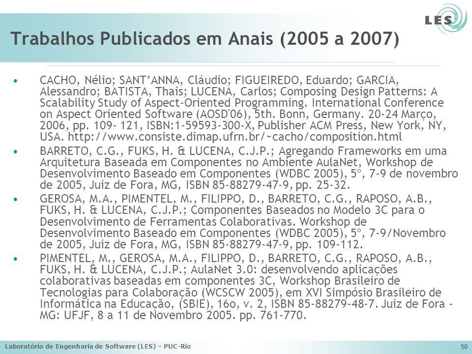 Laboratório de Engenharia de Software (LES) – PUC-Rio 50 Trabalhos Publicados em Anais (2005 a 2007) CACHO, Nélio; SANTANNA, Cláudio; FIGUEIREDO, Edua