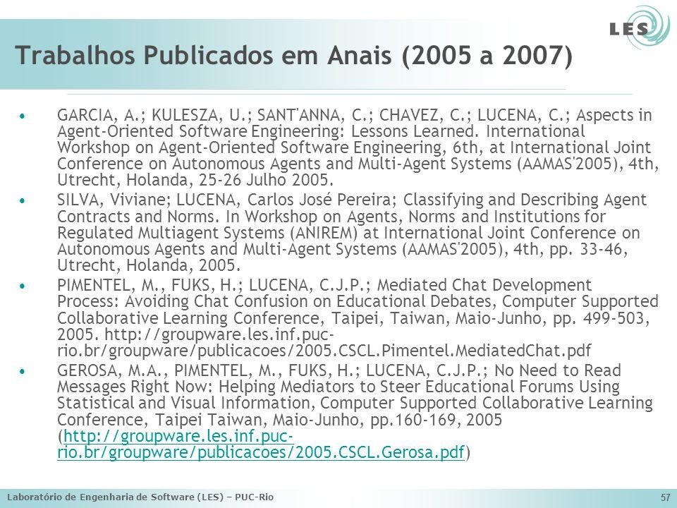 Laboratório de Engenharia de Software (LES) – PUC-Rio 57 Trabalhos Publicados em Anais (2005 a 2007) GARCIA, A.; KULESZA, U.; SANT'ANNA, C.; CHAVEZ, C