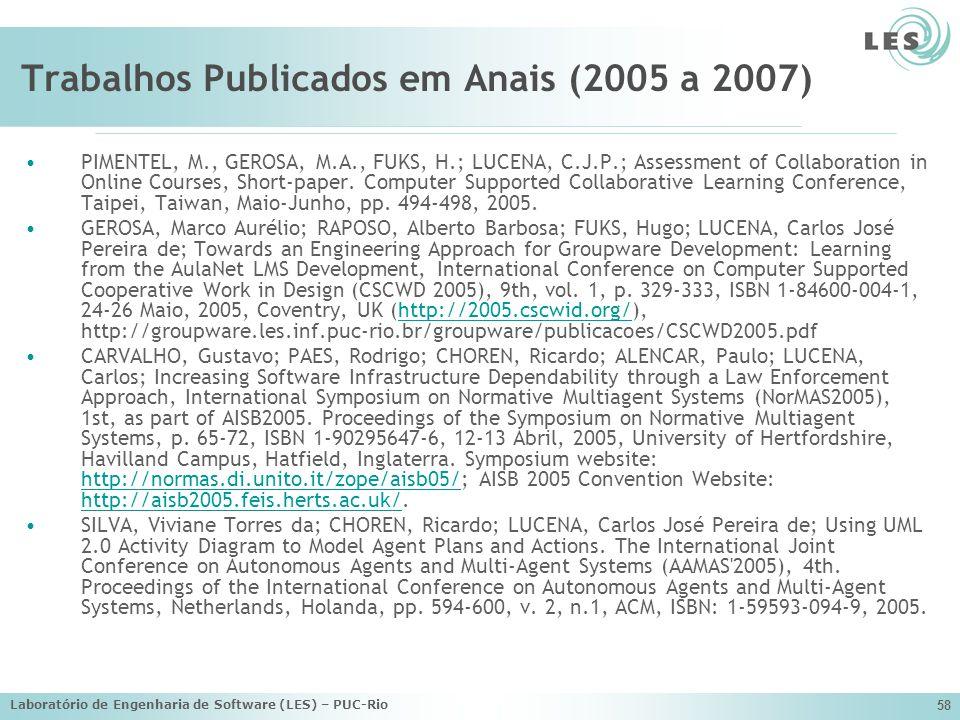 Laboratório de Engenharia de Software (LES) – PUC-Rio 58 Trabalhos Publicados em Anais (2005 a 2007) PIMENTEL, M., GEROSA, M.A., FUKS, H.; LUCENA, C.J