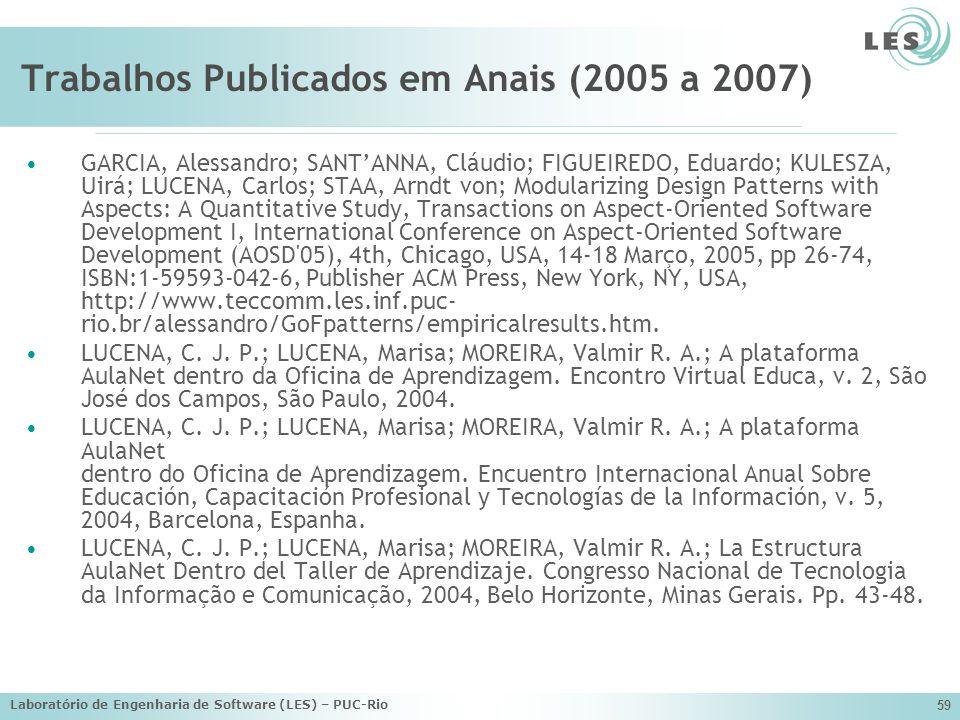 Laboratório de Engenharia de Software (LES) – PUC-Rio 59 Trabalhos Publicados em Anais (2005 a 2007) GARCIA, Alessandro; SANTANNA, Cláudio; FIGUEIREDO