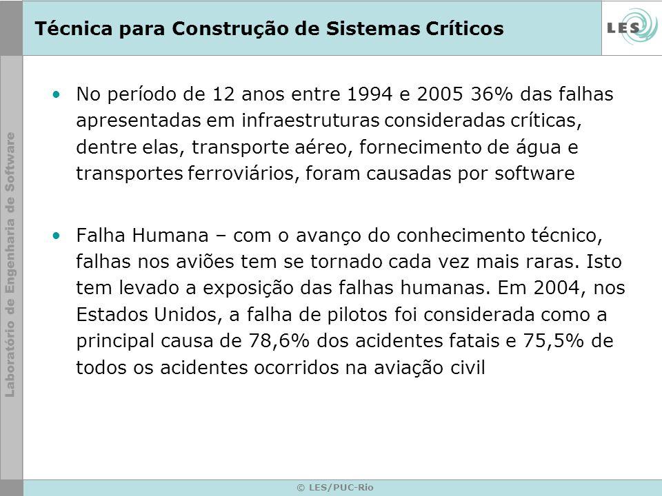 © LES/PUC-Rio Técnica para Construção de Sistemas Críticos No período de 12 anos entre 1994 e 2005 36% das falhas apresentadas em infraestruturas cons
