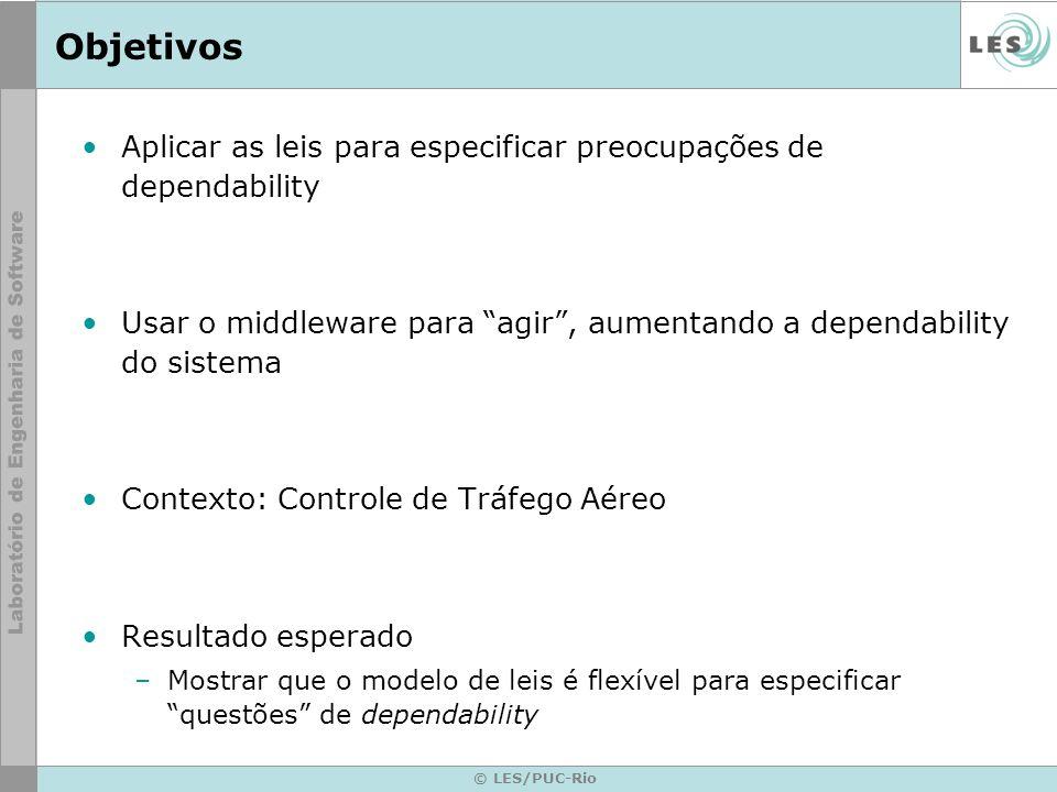 © LES/PUC-Rio Objetivos Aplicar as leis para especificar preocupações de dependability Usar o middleware para agir, aumentando a dependability do sist