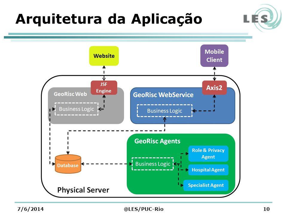 Tecnologia Empregada Sistema Operacional Google Android Aplicação Móvel WebServices Serviços para o GeoRisc - Mobile Aplicação web Cadastro de hospitais, Áreas de Risco e Especialistas Agentes desenvolvidos no JADE Sugestões e restrições Banco de Dados MySQL 7/6/2014@LES/PUC-Rio11