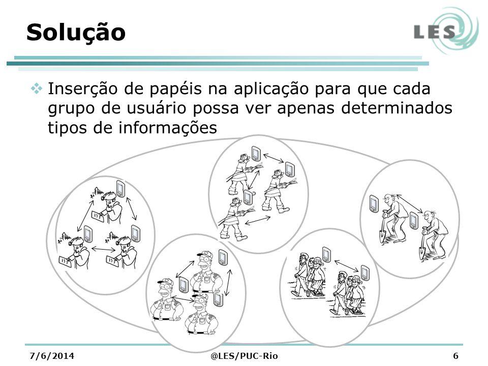 Contribuições Esperadas A criação de uma aplicação capaz de colaborar através de novos pontos geo- referenciados em um mapa no dispositivo móvel A disseminação do conhecimento sobre riscos ambientais 7/6/2014@LES/PUC-Rio7