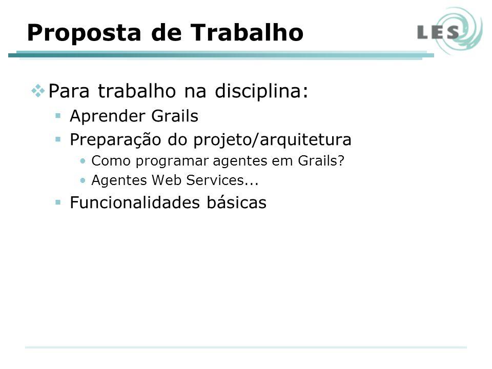 Proposta de Trabalho Para trabalho na disciplina: Aprender Grails Preparação do projeto/arquitetura Como programar agentes em Grails? Agentes Web Serv