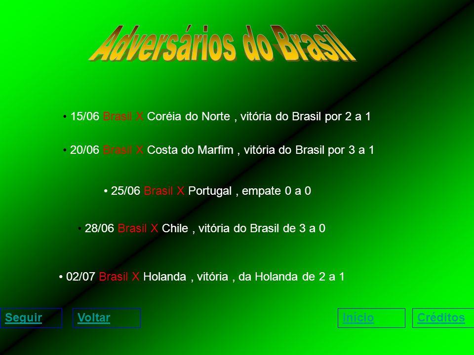 15/06 Brasil X Coréia do Norte, vitória do Brasil por 2 a 1 20/06 Brasil X Costa do Marfim, vitória do Brasil por 3 a 1 25/06 Brasil X Portugal, empate 0 a 0 28/06 Brasil X Chile, vitória do Brasil de 3 a 0 02/07 Brasil X Holanda, vitória, da Holanda de 2 a 1 SeguirVoltarInícioCréditos