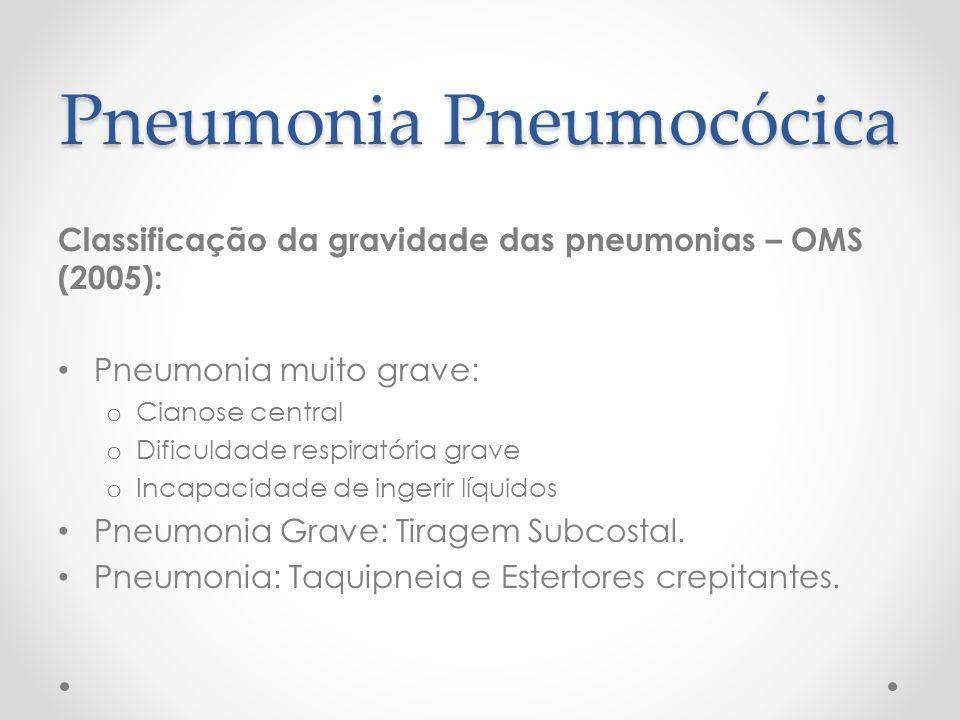 Pneumonia Pneumocócica Classificação da gravidade das pneumonias – OMS (2005): Pneumonia muito grave: o Cianose central o Dificuldade respiratória gra