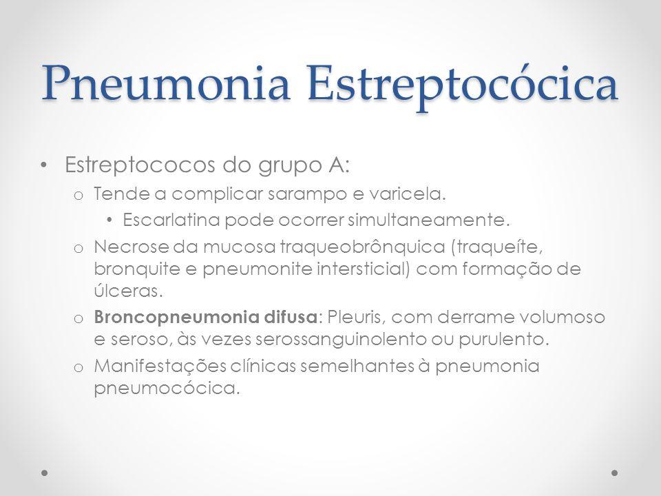 Pneumonia Estreptocócica Estreptococos do grupo A: o Tende a complicar sarampo e varicela. Escarlatina pode ocorrer simultaneamente. o Necrose da muco