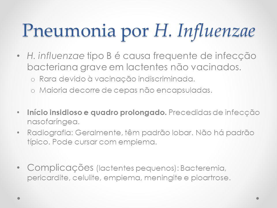 Pneumonia por H. Influenzae H. influenzae tipo B é causa frequente de infecção bacteriana grave em lactentes não vacinados. o Rara devido à vacinação