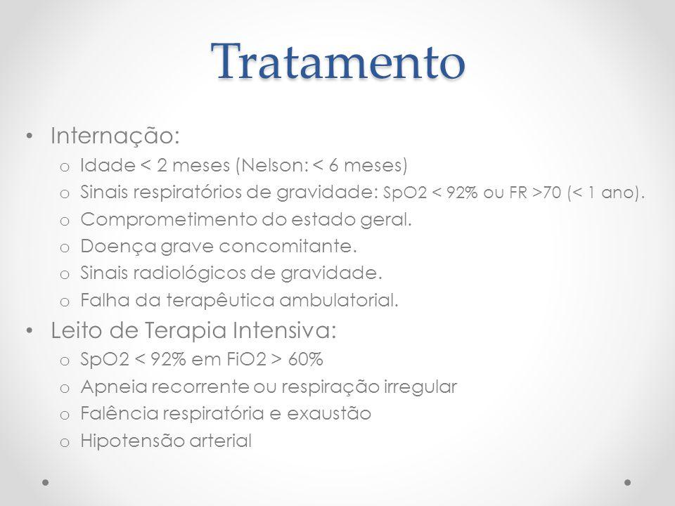 Tratamento Internação: o Idade < 2 meses (Nelson: < 6 meses) o Sinais respiratórios de gravidade: SpO2 70 (< 1 ano). o Comprometimento do estado geral