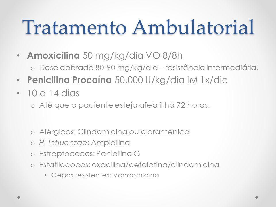 Tratamento Ambulatorial Amoxicilina 50 mg/kg/dia VO 8/8h o Dose dobrada 80-90 mg/kg/dia – resistência intermediária. Penicilina Procaína 50.000 U/kg/d