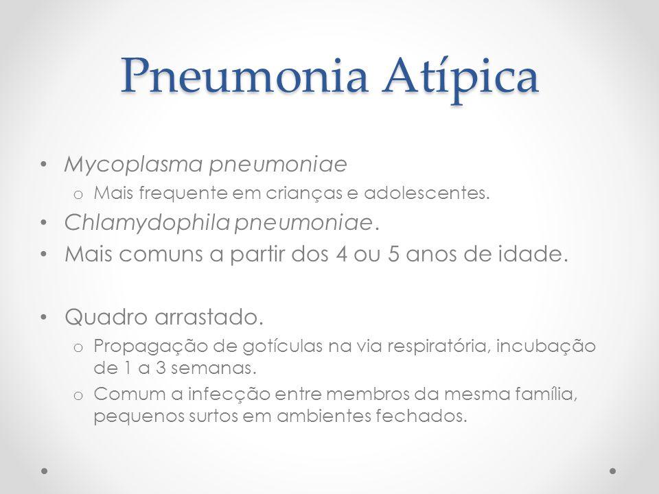Pneumonia Atípica Mycoplasma pneumoniae o Mais frequente em crianças e adolescentes. Chlamydophila pneumoniae. Mais comuns a partir dos 4 ou 5 anos de
