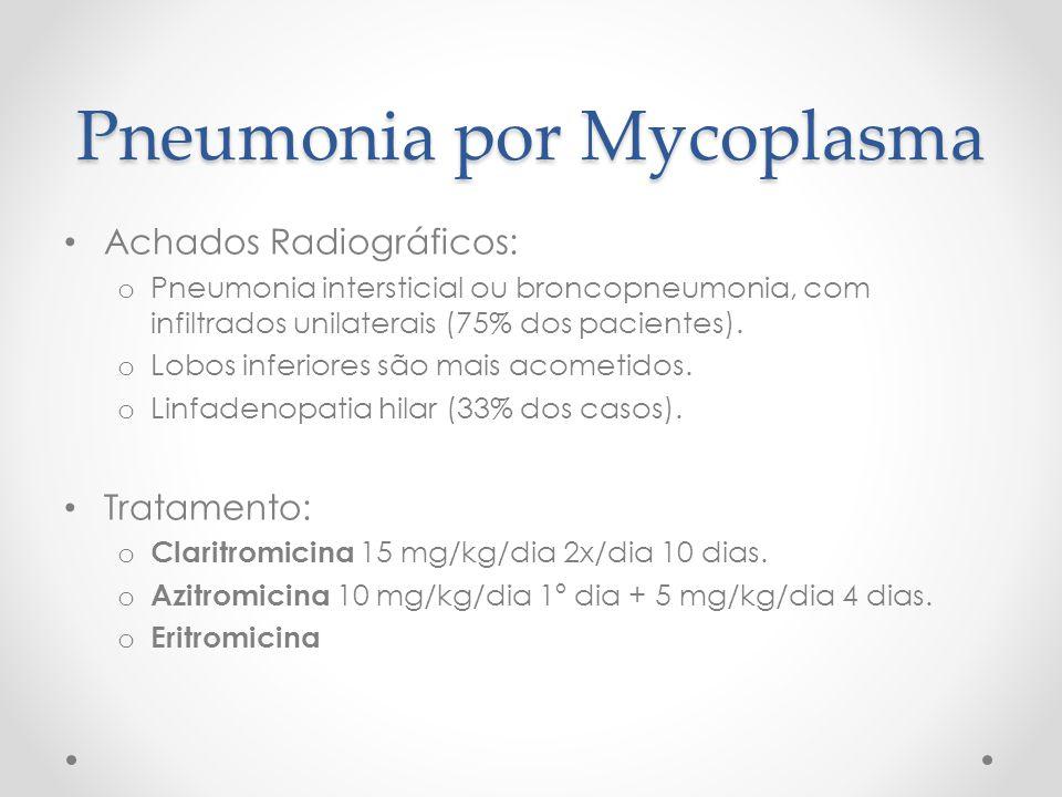 Pneumonia por Mycoplasma Achados Radiográficos: o Pneumonia intersticial ou broncopneumonia, com infiltrados unilaterais (75% dos pacientes). o Lobos