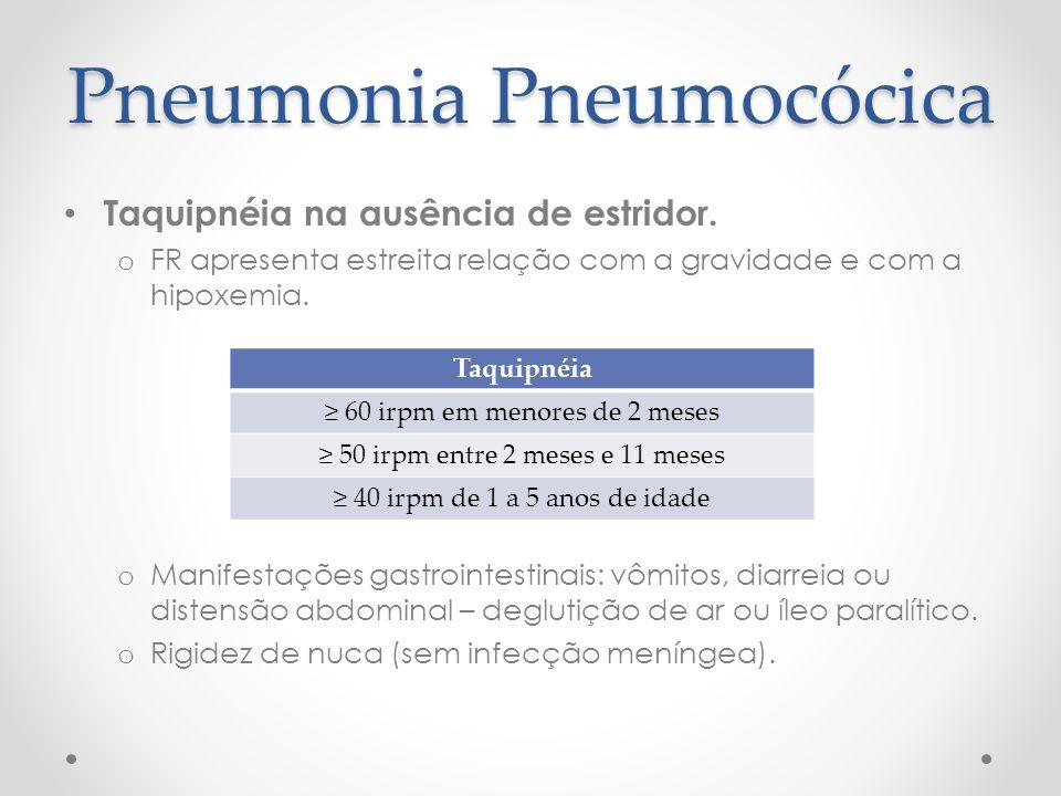 Pneumonia Pneumocócica Taquipnéia na ausência de estridor. o FR apresenta estreita relação com a gravidade e com a hipoxemia. o Manifestações gastroin