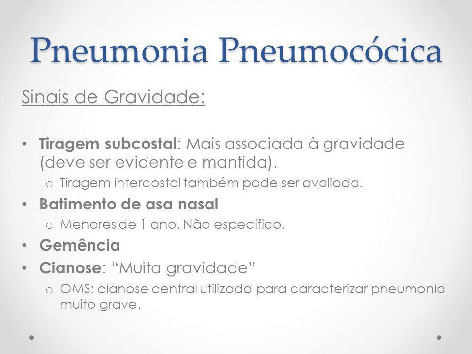 Pneumonia Pneumocócica Sinais de Gravidade: Tiragem subcostal : Mais associada à gravidade (deve ser evidente e mantida). o Tiragem intercostal também