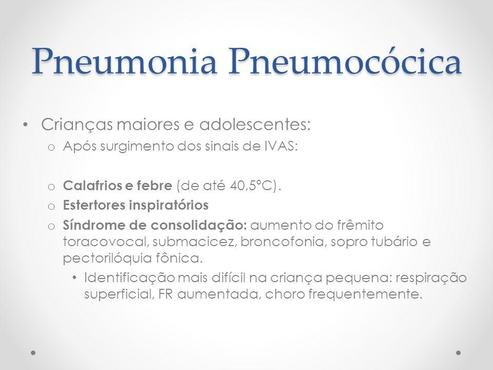 Pneumonia Pneumocócica Crianças maiores e adolescentes: o Após surgimento dos sinais de IVAS: o Calafrios e febre (de até 40,5ºC). o Estertores inspir