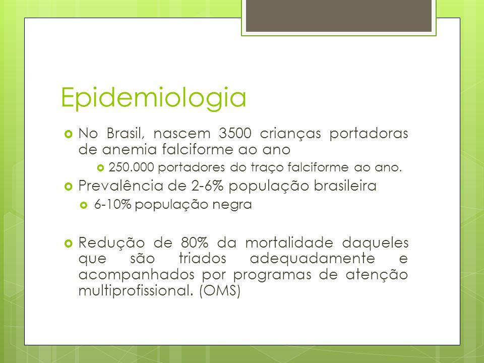 Epidemiologia No Brasil, nascem 3500 crianças portadoras de anemia falciforme ao ano 250.000 portadores do traço falciforme ao ano. Prevalência de 2-6