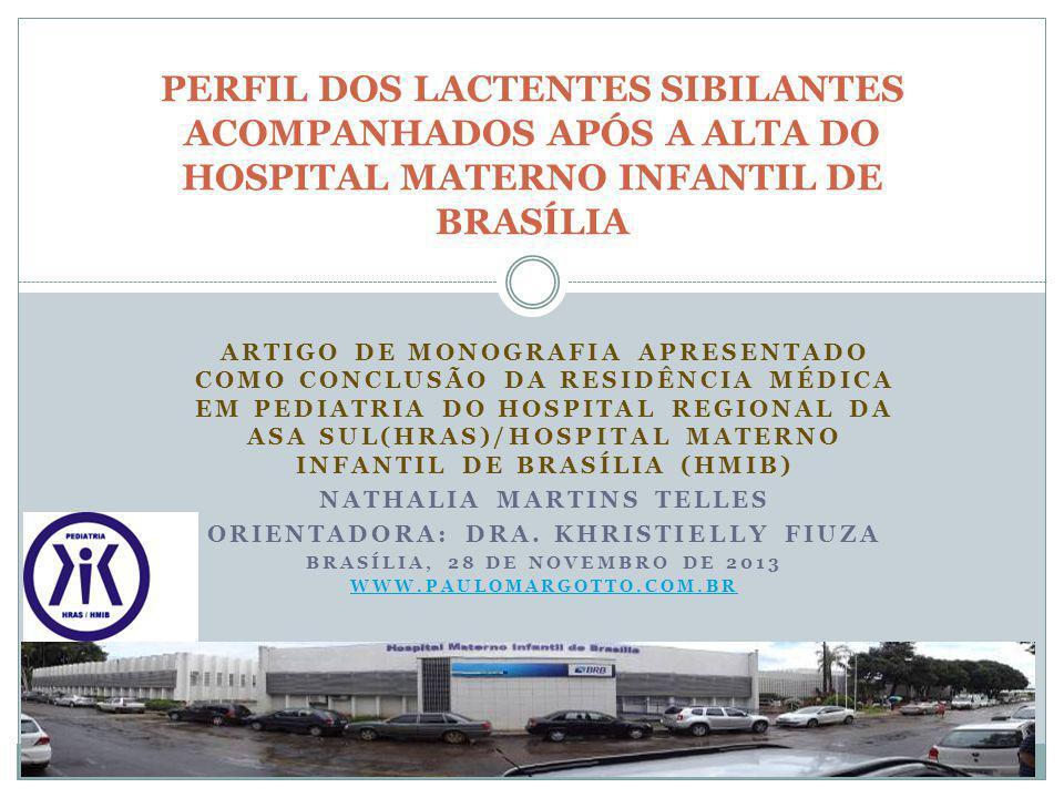 ARTIGO DE MONOGRAFIA APRESENTADO COMO CONCLUSÃO DA RESIDÊNCIA MÉDICA EM PEDIATRIA DO HOSPITAL REGIONAL DA ASA SUL(HRAS)/HOSPITAL MATERNO INFANTIL DE B