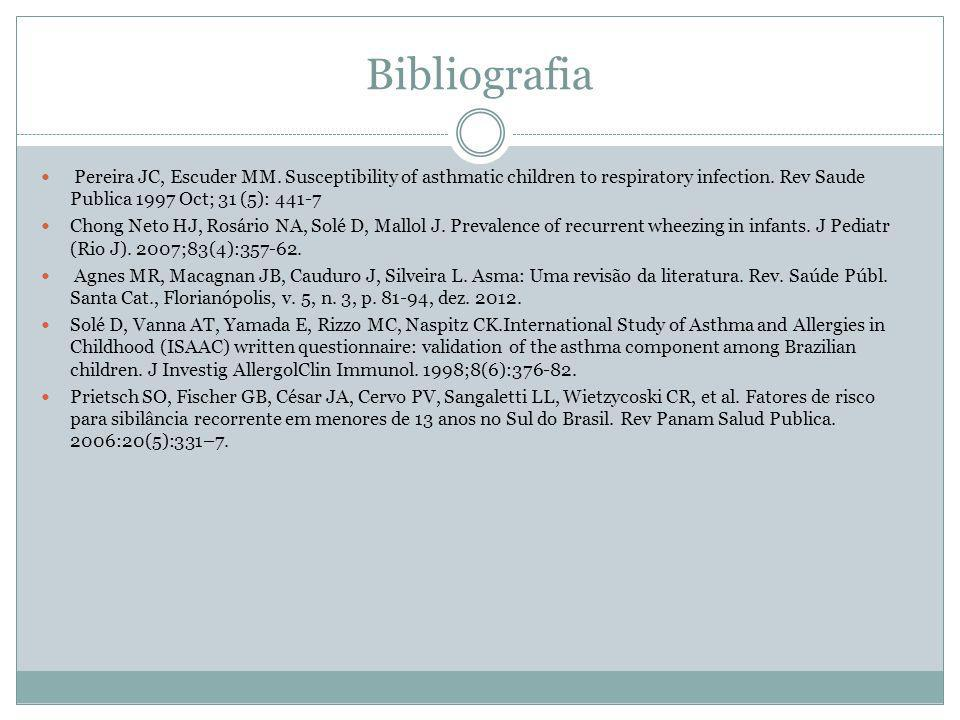 Bibliografia Pereira JC, Escuder MM. Susceptibility of asthmatic children to respiratory infection. Rev Saude Publica 1997 Oct; 31 (5): 441-7 Chong Ne