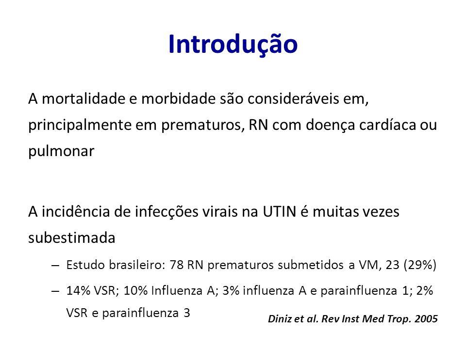 Introdução A mortalidade e morbidade são consideráveis em, principalmente em prematuros, RN com doença cardíaca ou pulmonar A incidência de infecções virais na UTIN é muitas vezes subestimada – Estudo brasileiro: 78 RN prematuros submetidos a VM, 23 (29%) – 14% VSR; 10% Influenza A; 3% influenza A e parainfluenza 1; 2% VSR e parainfluenza 3 Diniz et al.