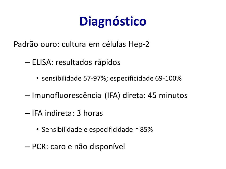 Diagnóstico Padrão ouro: cultura em células Hep-2 – ELISA: resultados rápidos sensibilidade 57-97%; especificidade 69-100% – Imunofluorescência (IFA) direta: 45 minutos – IFA indireta: 3 horas Sensibilidade e especificidade ~ 85% – PCR: caro e não disponível