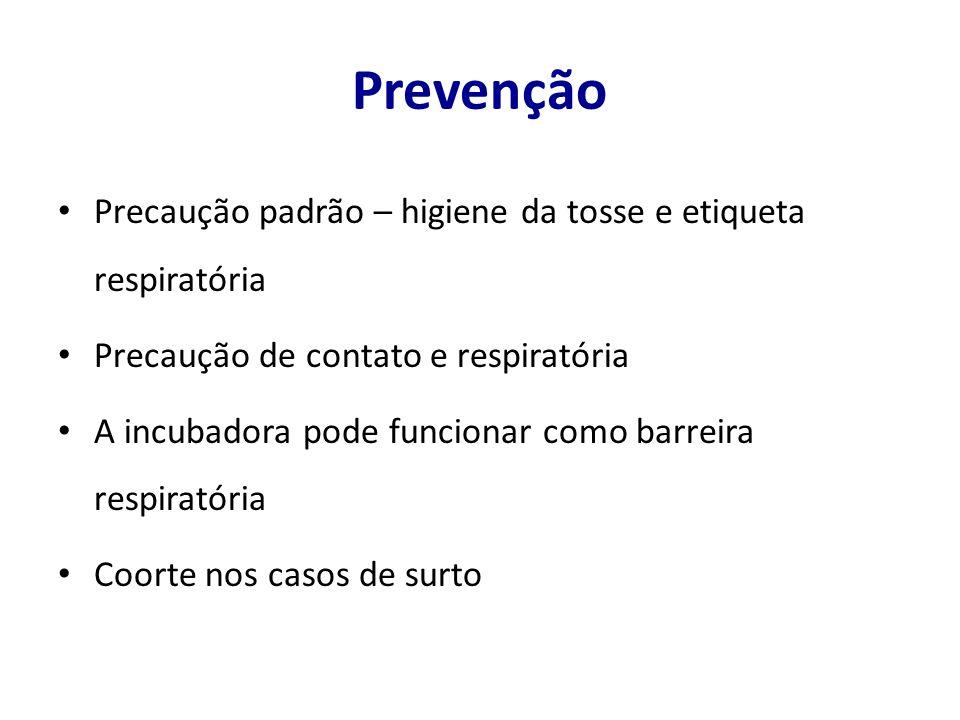 Prevenção Precaução padrão – higiene da tosse e etiqueta respiratória Precaução de contato e respiratória A incubadora pode funcionar como barreira respiratória Coorte nos casos de surto