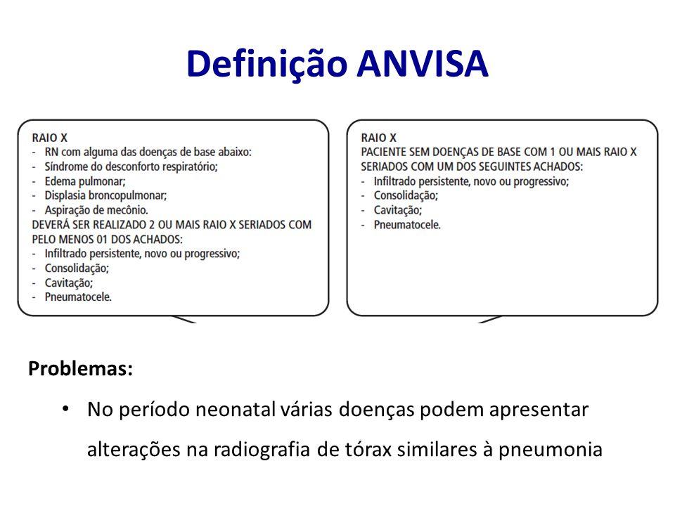Definição ANVISA Problemas: No período neonatal várias doenças podem apresentar alterações na radiografia de tórax similares à pneumonia