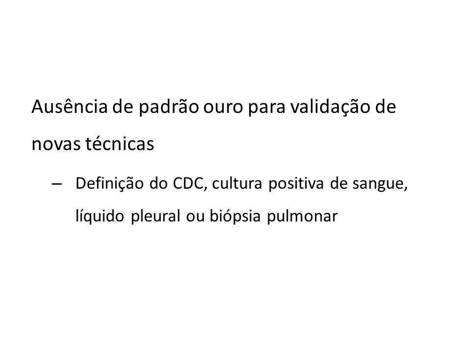 Ausência de padrão ouro para validação de novas técnicas – Definição do CDC, cultura positiva de sangue, líquido pleural ou biópsia pulmonar