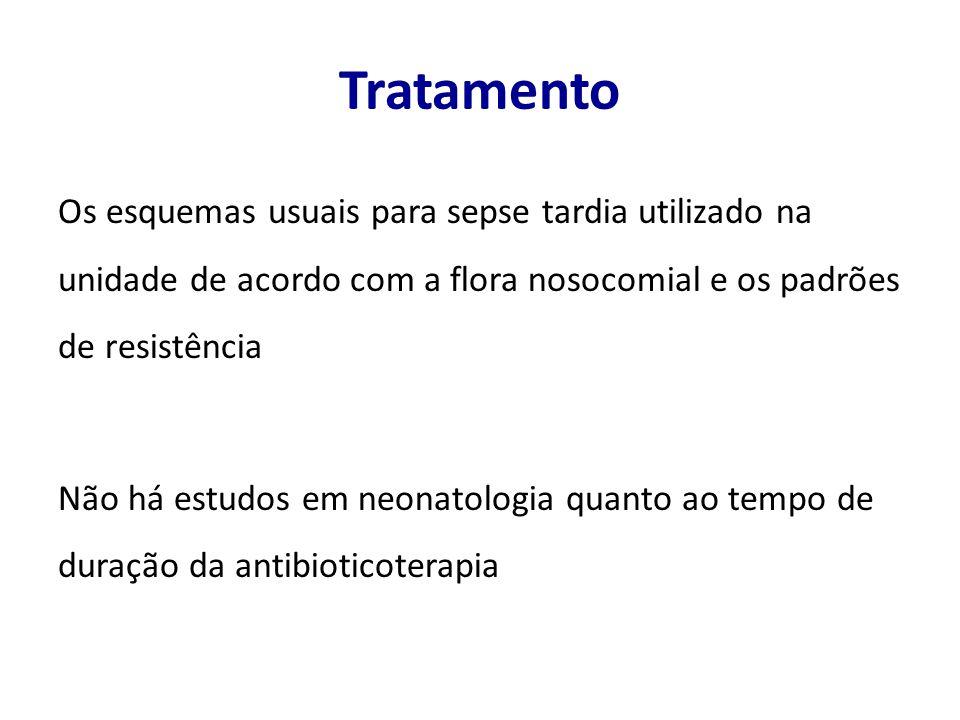Tratamento Os esquemas usuais para sepse tardia utilizado na unidade de acordo com a flora nosocomial e os padrões de resistência Não há estudos em neonatologia quanto ao tempo de duração da antibioticoterapia