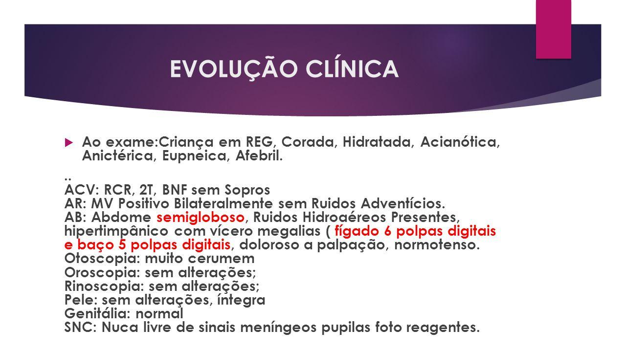 EVOLUÇÃO CLÍNICA Ao exame:Criança em REG, Corada, Hidratada, Acianótica, Anictérica, Eupneica, Afebril... ACV: RCR, 2T, BNF sem Sopros AR: MV Positivo