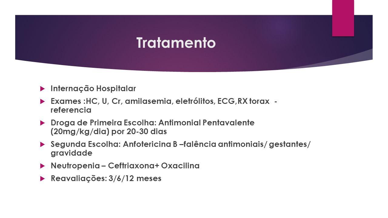 Tratamento Internação Hospitalar Exames :HC, U, Cr, amilasemia, eletrólitos, ECG,RX torax - referencia Droga de Primeira Escolha: Antimonial Pentavale