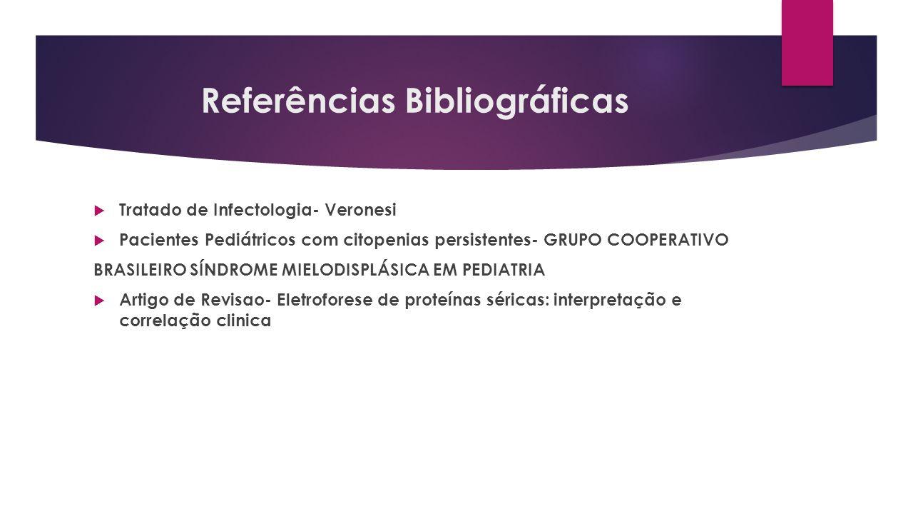Referências Bibliográficas Tratado de Infectologia- Veronesi Pacientes Pediátricos com citopenias persistentes- GRUPO COOPERATIVO BRASILEIRO SÍNDROME