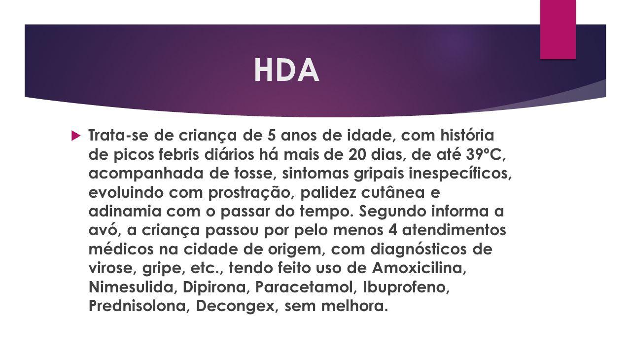 HDA Trata-se de criança de 5 anos de idade, com história de picos febris diários há mais de 20 dias, de até 39ºC, acompanhada de tosse, sintomas gripa