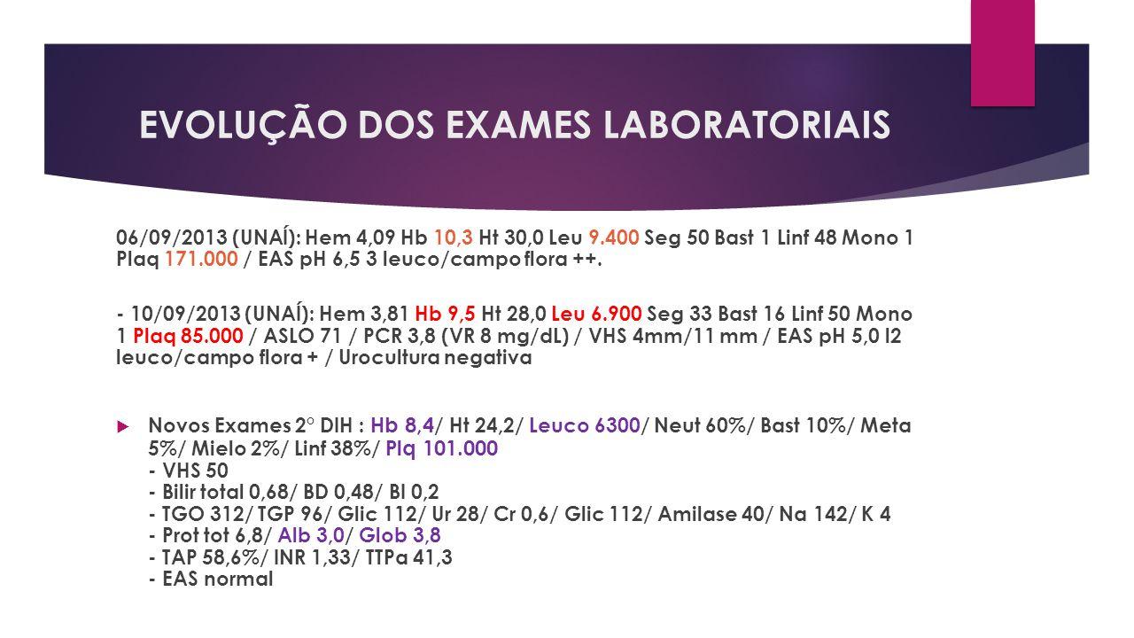 EVOLUÇÃO DOS EXAMES LABORATORIAIS 06/09/2013 (UNAÍ): Hem 4,09 Hb 10,3 Ht 30,0 Leu 9.400 Seg 50 Bast 1 Linf 48 Mono 1 Plaq 171.000 / EAS pH 6,5 3 leuco